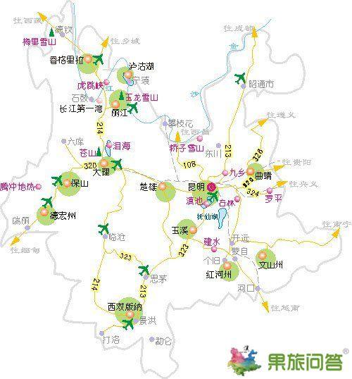云南旅游地图和云南机场位置地图