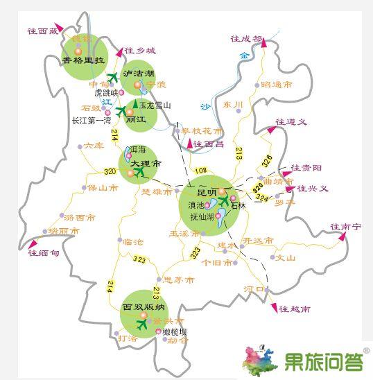 云南旅游路线地图图片